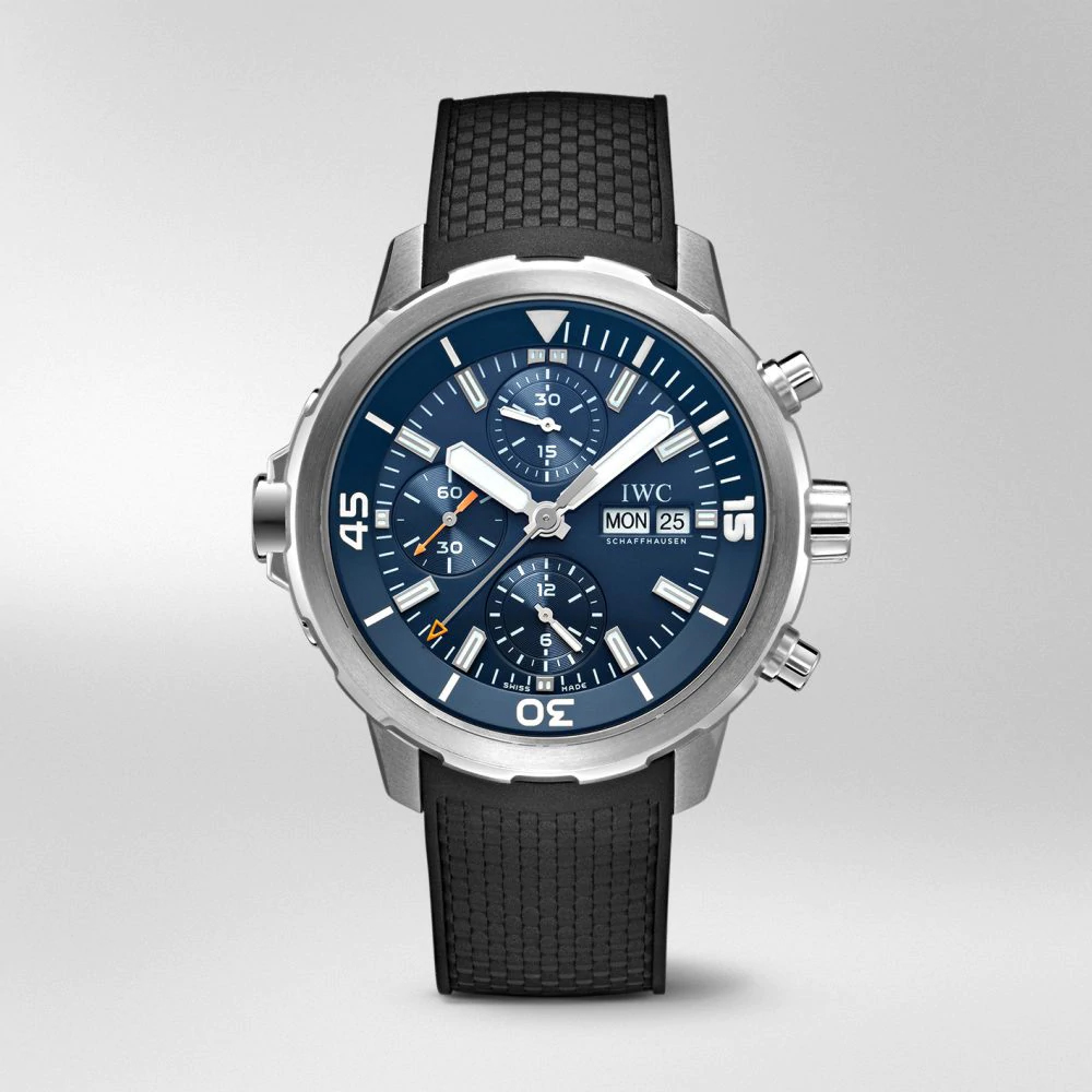 "IW376805 - IWC Aquatimer Chronograph Edition ""Expedition Jacques-Yves Cousteau"" Blue Dial Black Rubber Strap"