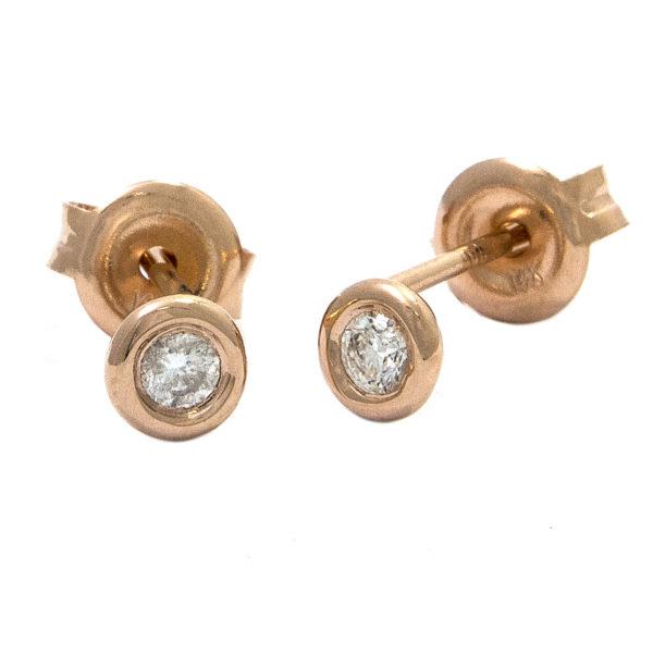 Rose Gold Stud Round Bezel Diamond Earrings (Diamond Bezel Set Earring Stud (14k) D-0.10)