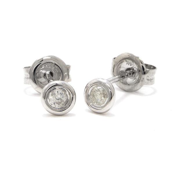 White Gold Stud Round Bezel Diamond Earrings (Diamond Bezel Set Earring Stud (14k) D-0.10)