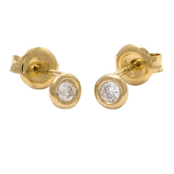 Yellow Gold Stud Round Bezel Diamond Earrings (Diamond Bezel Set Earring Stud (14k) D-0.10)