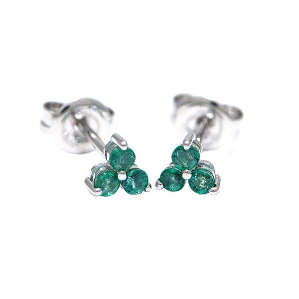 White Gold Round Prong Emerald Earrings (Emerald Earrings (Wg))