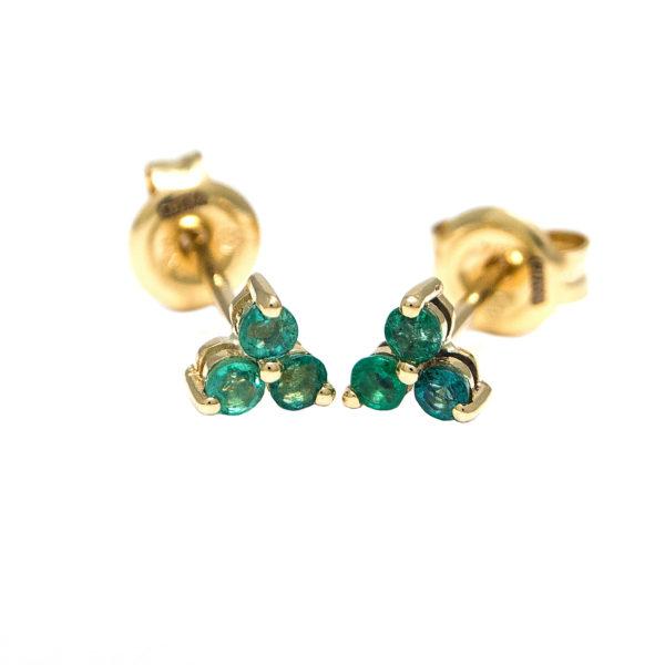 Yellow Gold Round Prong Emerald Earrings (Emerald Earrings (Yg))