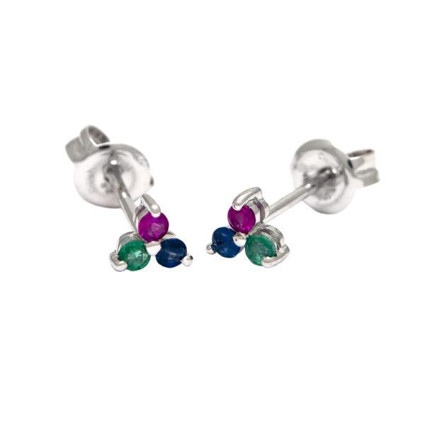White Gold Round Prong Multi Gem Earrings (14k Ruby, Sapphire & Emerald Earrings (Wg))