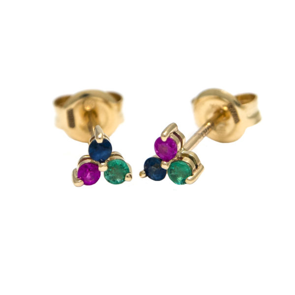 Yellow Gold Round Prong Multi Gem Earrings (14k Ruby, Sapphire, And Emerald Earring)