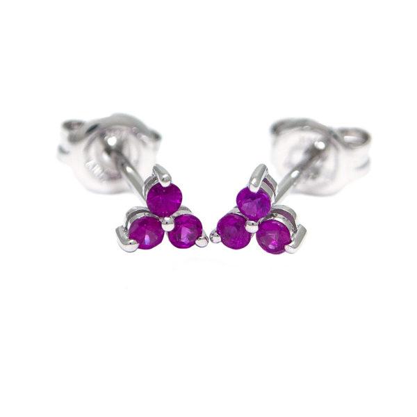 White Gold Round Prong Ruby Earrings (Ruby Earrings (Wg))