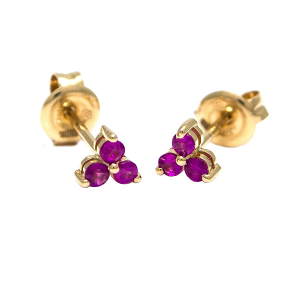 Yellow Gold Round Prong Ruby Earrings (Ruby Earrings (Yg))