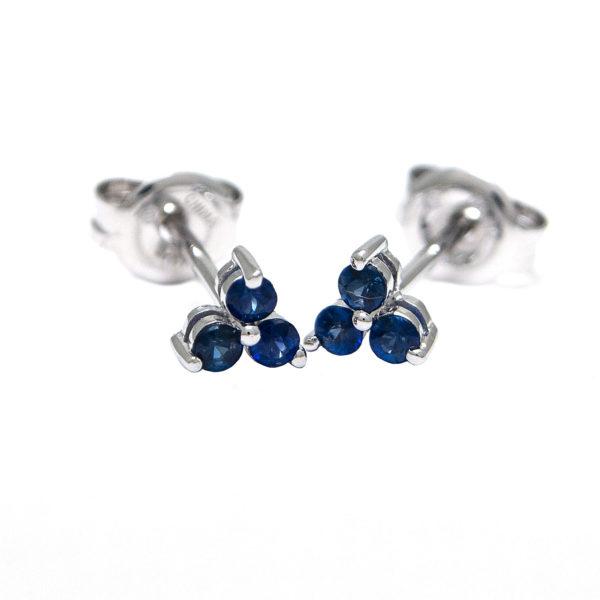 White Gold Round Prong Sapphire Earrings (Sapphire Earrings (Wg))