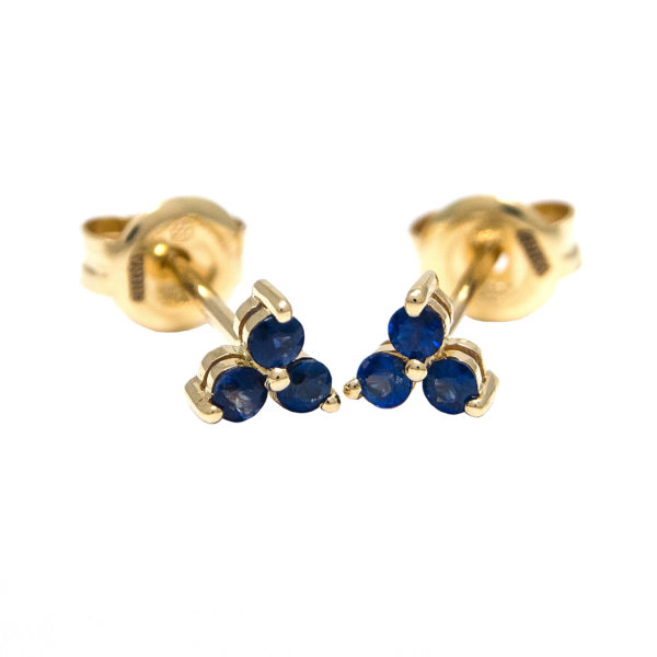 Yellow Gold Round Prong Sapphire Earrings (Sapphire Earrings (Yg))