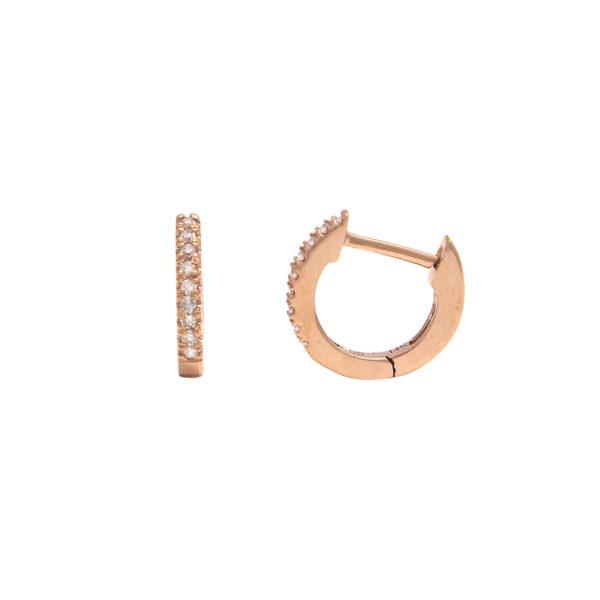 Rose Gold Hoop Single Micro Pave Diamond Earrings (Diamond Mini Hoop Earring (14krg))