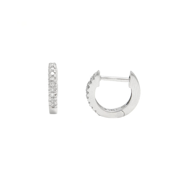 White Gold Hoop Single Micro Pave Diamond Earrings (Diamond Mini Hoop Earring (14kwg))