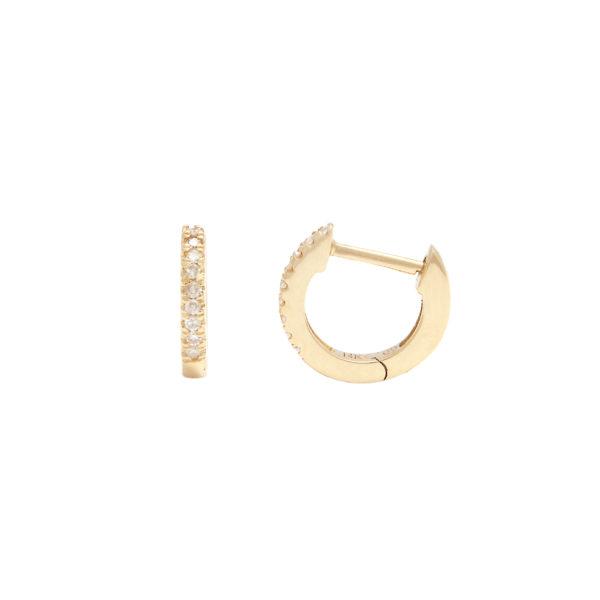 Yellow Gold Hoop Single Micro Pave Diamond Earrings (Diamond Mini Hoop Earring (14kyg))