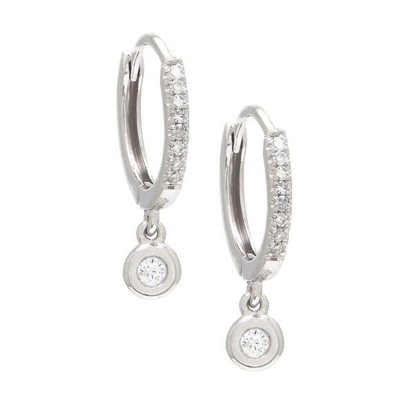 White Gold Fashion Round Bezel Diamond Earrings (Small Hoop Diamond Earring W/ Hanging Charms (14k))