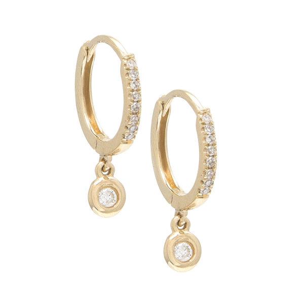 Yellow Gold Fashion Round Bezel Diamond Earrings (Small Hoop Diamond Earring W/ Hanging Charms (14k))