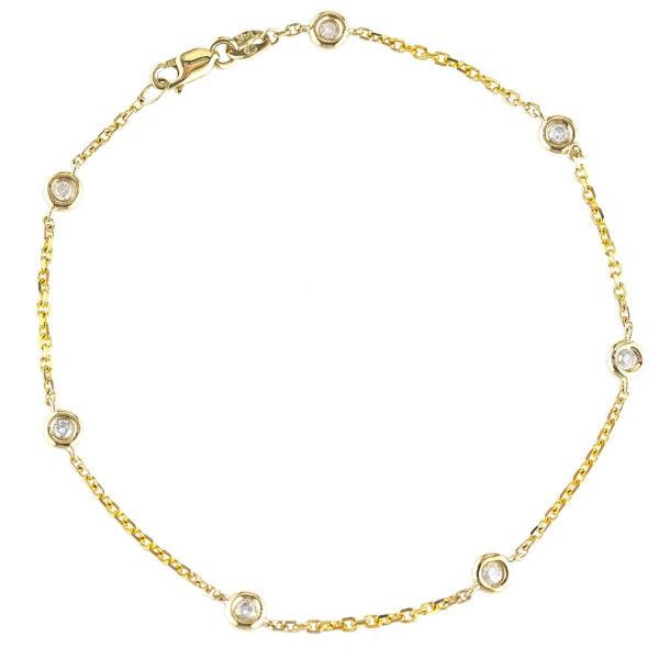 Yellow Gold Diamond By The Yard Round Bezel Diamond Bracelet (Diamond Bracelet (Yg))