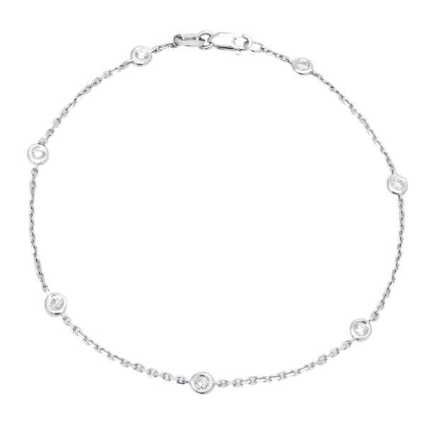 White Gold Diamond By The Yard Round Bezel Diamond Bracelet (Diamond Bracelet (Wg))