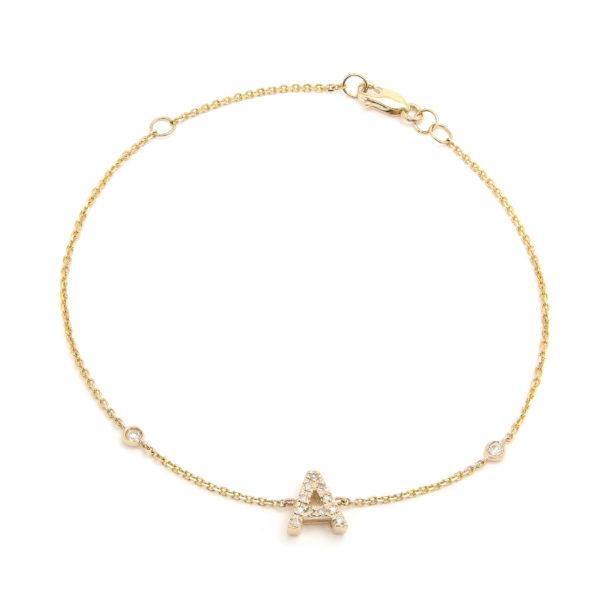 "Yellow Gold Letter Single Micro Pave Diamond Bracelet (Diamond Initial Fashion Bracelet ""a"" (14k) (6+1""))"