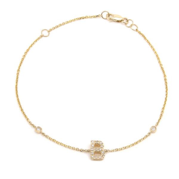 "Yellow Gold Letter Single Micro Pave Diamond Bracelet (Diamond Initial Fashion Bracelet ""b"" (14k) (6+1""))"