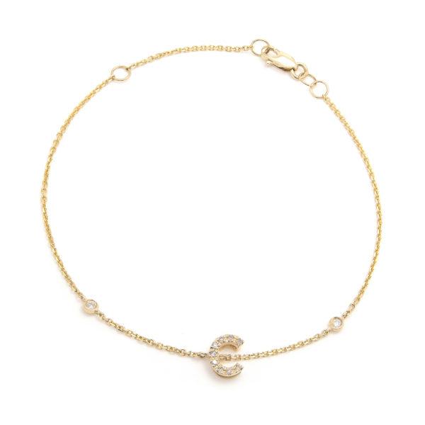 "Yellow Gold Letter Single Micro Pave Bracelet (Diamond Initial Fashion Bracelet ""c"" (14k) (6+1""))"