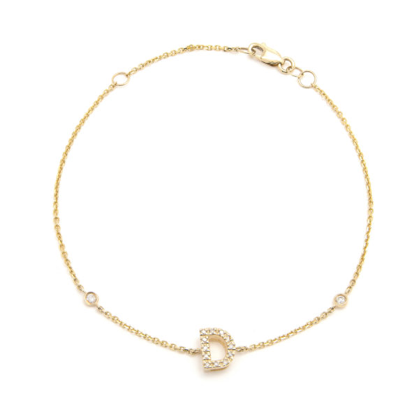 "Yellow Gold Letter Single Micro Pave Diamond Bracelet (Diamond Initial Fashion Bracelet ""d"" (14k) (6+1""))"