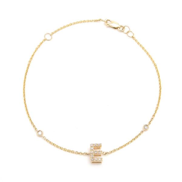 "Yellow Gold Letter Single Micro Pave Diamond Bracelet (Diamond Initial Fashion Bracelet ""e"" (14k) (6+1""))"