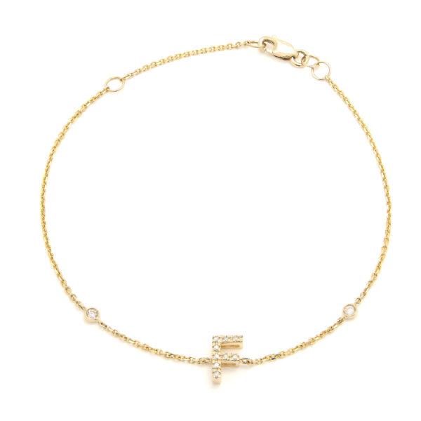 "Yellow Gold Letter Single Micro Pave Diamond Bracelet (Diamond Initial Fashion Bracelet ""f"" (14k) (6+1""))"