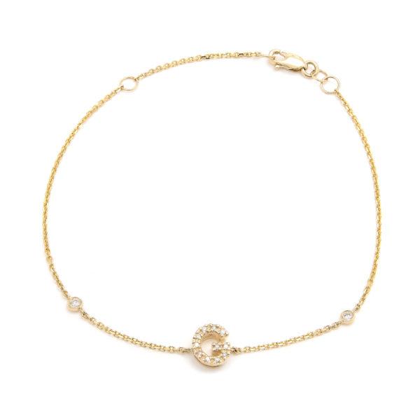 "Yellow Gold Letter Single Micro Pave Diamond Bracelet (Diamond Initial Fashion Bracelet ""g"" (14k) (6+1""))"