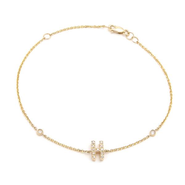 "Yellow Gold Letter Single Micro Pave Diamond Bracelet (Diamond Initial Fashion Bracelet ""h"" (14k) (6+1""))"