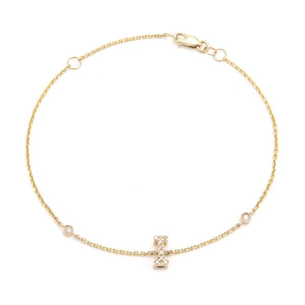 "Yellow Gold Initial Single Micro Pave Bracelet (Diamond Initial Fashion Bracelet ""i"" (14k) (6+1""))"