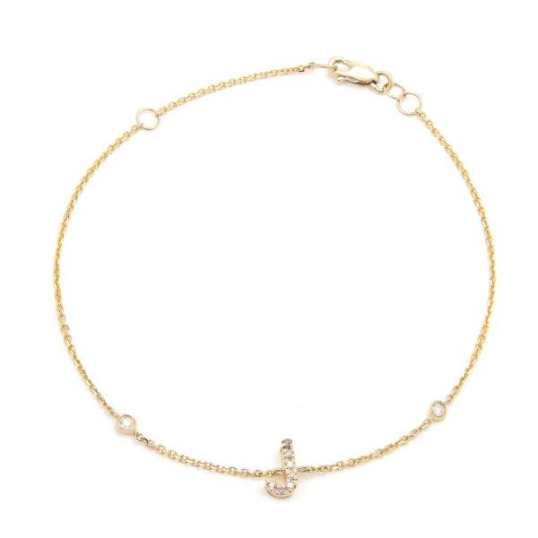 "Yellow Gold Letter Single Micro Pave Diamond Bracelet (Diamond Initial Fashion Bracelet ""j"" (14k) (6+1""))"
