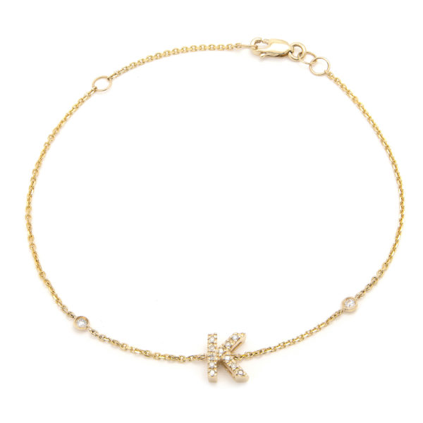 "Yellow Gold Initial Single Micro Pave Diamond Bracelet (Diamond Initial Fashion Bracelet ""k"" (14k) (6+1""))"