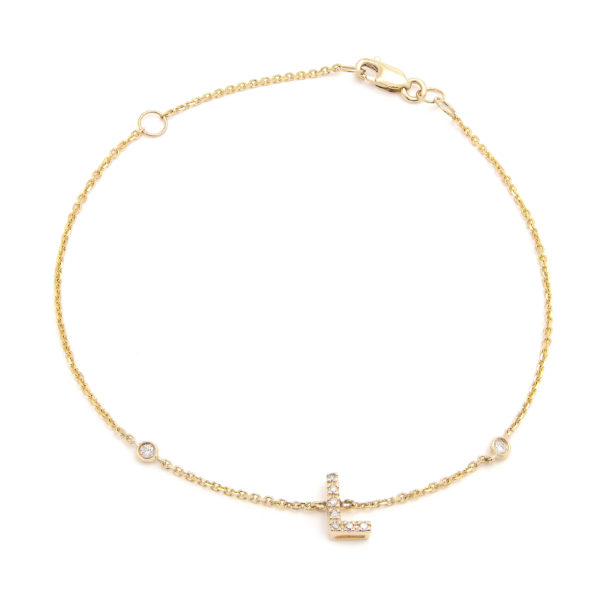 "Yellow Gold Letter Single Micro Pave Diamond Bracelet (Diamond Initial Fashion Bracelet ""l"" (14k) (6+1""))"
