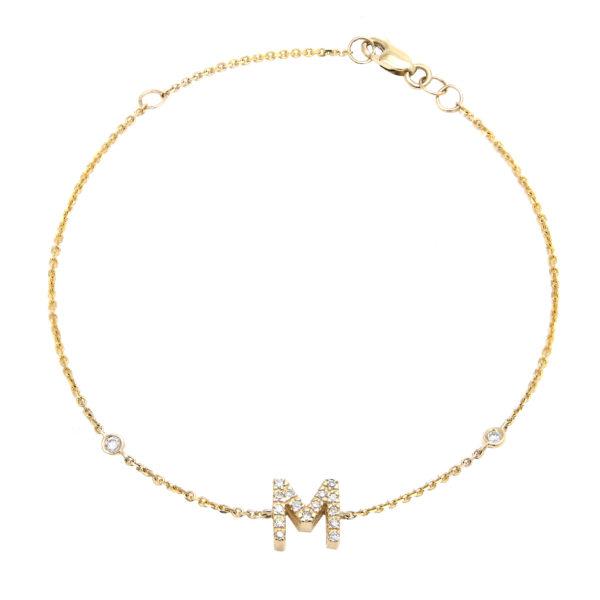 "Yellow Gold Initial Single Micro Pave Diamond Bracelet (Diamond Initial Fashion Bracelet ""m"" (14k) (6+1""))"