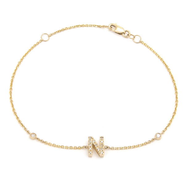 "Yellow Gold Letter Single Micro Pave Diamond Bracelet (Diamond Initial Fashion Bracelet ""n"" (14k) (6+1""))"