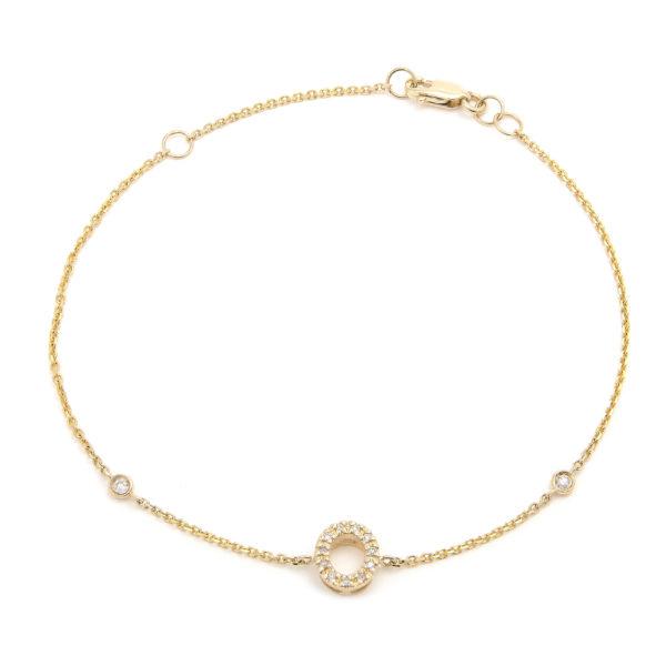 "Yellow Gold Letter Single Micro Pave Diamond Bracelet (Diamond Initial Fashion Bracelet ""o"" (14k) (6+1""))"