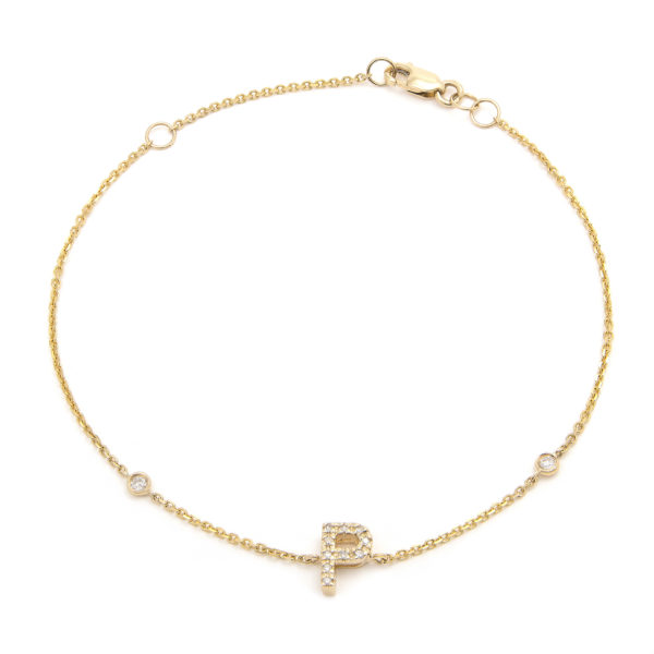 "Yellow Gold Letter Single Micro Pave Diamond Bracelet (Diamond Initial Fashion Bracelet ""p"" (14k) (6+1""))"