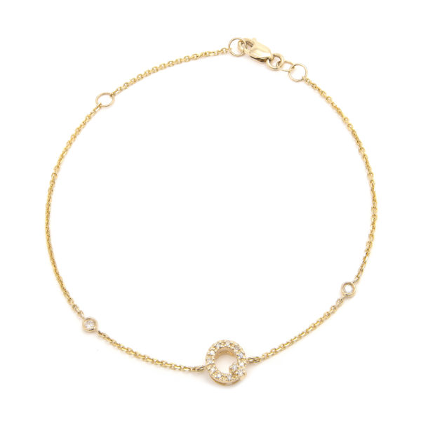 "Yellow Gold Letter Single Micro Pave Diamond Bracelet (Diamond Initial Fashion Bracelet ""q"" (14k) (6+1""))"