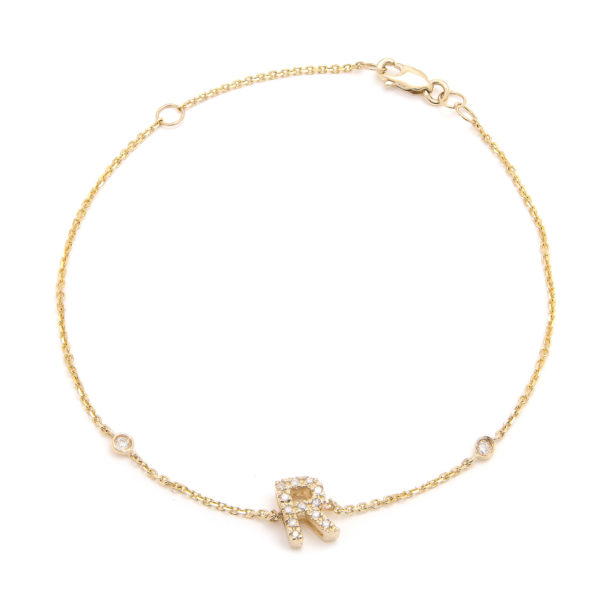 "Yellow Gold Letter Single Micro Pave Diamond Bracelet (Diamond Initial Fashion Bracelet ""r"" (14k) (6+1""))"