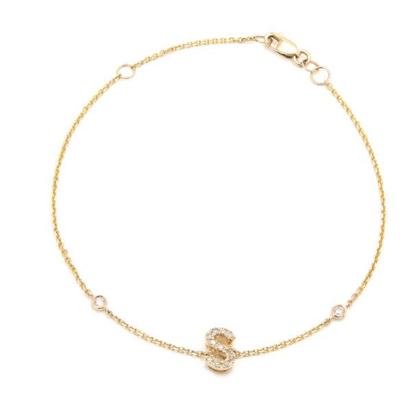 "Yellow Gold Initial Single Micro Pave Diamond Bracelet (Diamond Initial Fashion Bracelet ""s"" (14k) (6+1""))"