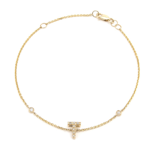 "Yellow Gold Letter Single Micro Pave Diamond Bracelet (Diamond Initial Fashion Bracelet ""t"" (14k) (6+1""))"