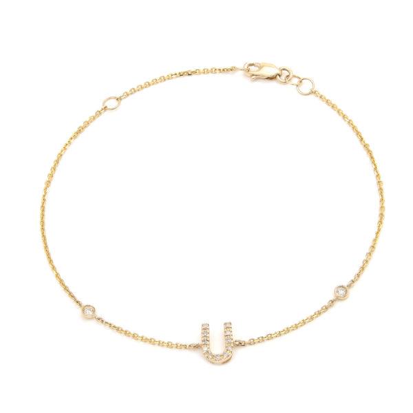 "Yellow Gold Letter Single Micro Pave Bracelet (Diamond Initial Fashion Bracelet ""u"" (14k) (6+1""))"