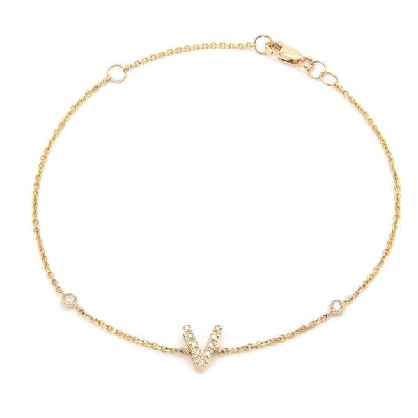 "Yellow Gold Letter Single Micro Pave Diamond Bracelet (Diamond Initial Fashion Bracelet ""v"" (14k) (6+1""))"