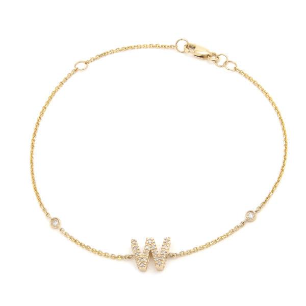 "Yellow Gold Letter Single Micro Pave Diamond Bracelet (Diamond Initial Fashion Bracelet ""w"" (14k) (6+1""))"
