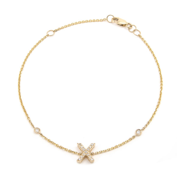 "Yellow Gold Letter Single Micro Pave Diamond Bracelet (Diamond Initial Fashion Bracelet ""x"" (14k) (6+1""))"