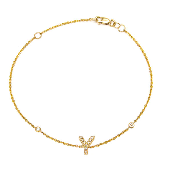 "Yellow Gold Letter Single Micro Pave Diamond Bracelet (Diamond Initial Fashion Bracelet ""y"" (14k) (6+1""))"
