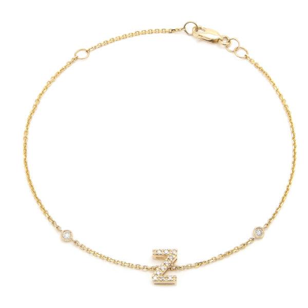 "Yellow Gold Letter Single Micro Pave Diamond Bracelet (Diamond Initial Fashion Bracelet ""z"" (14k) (6+1""))"