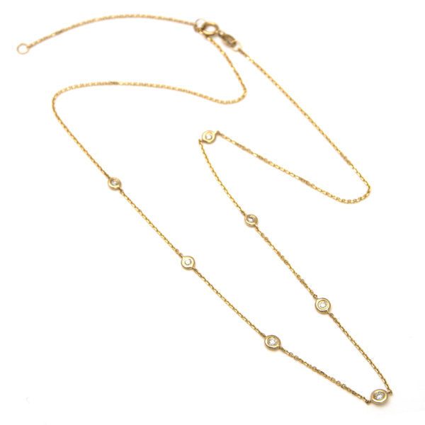 "Yellow Gold Diamond By The Yard Round Bezel Diamond Necklace (Diamond Necklace (Yg/16""+2"" Extender))"