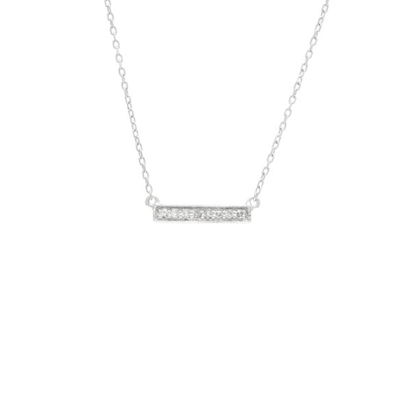 "White Gold Bar Single Micro Pave Diamond Necklace (Diamond Necklace ""petite Bar"" (Wg) 16+2"")"