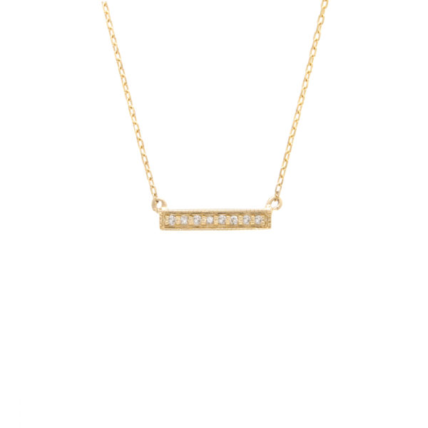 "Yellow Gold Bar Single Micro Pave Diamond Necklace (Diamond Necklace ""petite Bar"" (Yg) 16+2"")"
