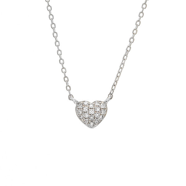 "White Gold Heart Single Pave Diamond Necklace (Diamond Petite Heart Necklace (16+2""))"