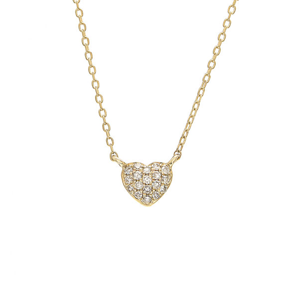 "Yellow Gold Heart Single Pave Diamond Necklace (14k Yg Diamond Heart Necklace (16""+2""))"